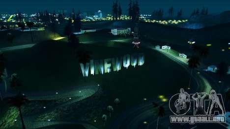 A contraluz etiquetas Vinewood para GTA San Andreas tercera pantalla