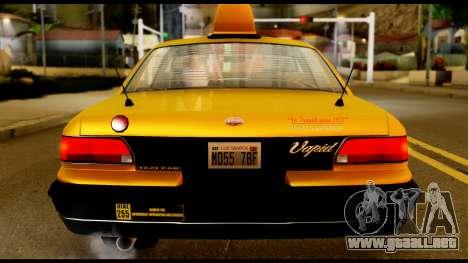 GTA 4 Vapid Stanier Downtown Cab para GTA San Andreas vista hacia atrás