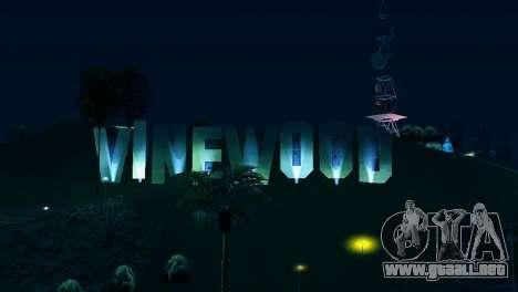 A contraluz etiquetas Vinewood para GTA San Andreas