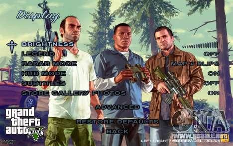 GTA 5 Menú para GTA San Andreas quinta pantalla