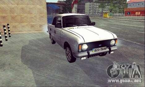 Moskvich 412 Blanco Tragar para la visión correcta GTA San Andreas