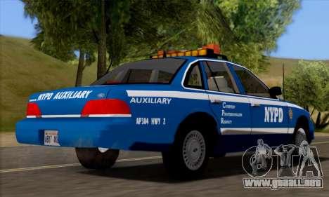 Ford Crown Victoria NYPD  Mazarine para GTA San Andreas vista posterior izquierda