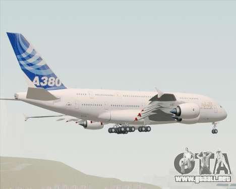 Airbus A380-800 F-WWDD Etihad Titles para GTA San Andreas vista posterior izquierda