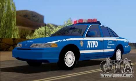 Ford Crown Victoria NYPD  Mazarine para la visión correcta GTA San Andreas