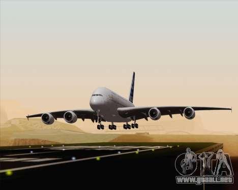 Airbus A380-800 F-WWDD Etihad Titles para GTA San Andreas vista hacia atrás