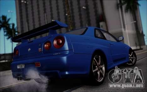 Nissan Skyline GT-R V Spec II 2002 para GTA San Andreas vista posterior izquierda