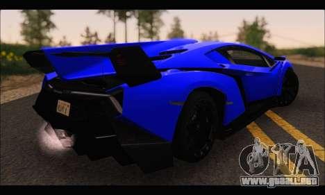 Lamborghini Veneno White-Black 2015 (ADD IVF) para GTA San Andreas vista posterior izquierda