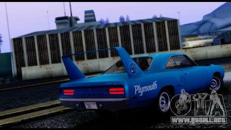 Plymouth Roadrunner Superbird RM23 1970 IVF para GTA San Andreas vista posterior izquierda