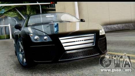 GTA 5 Obey 9F Cabrio SA Mobile para GTA San Andreas vista posterior izquierda