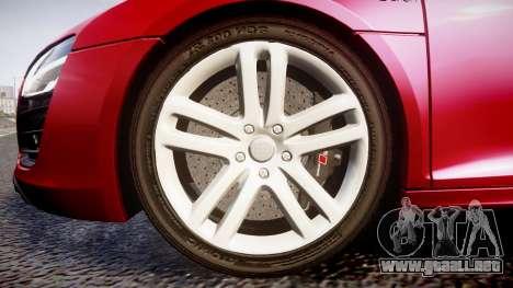 Audi R8 E-Tron 2014 para GTA 4 vista hacia atrás