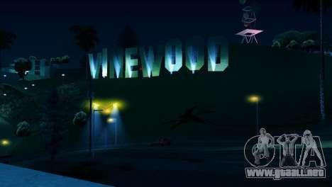 A contraluz etiquetas Vinewood para GTA San Andreas segunda pantalla