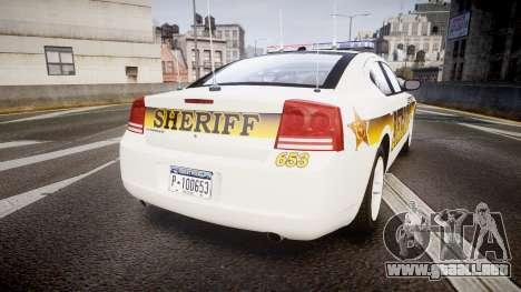 Dodge Charger 2006 Sheriff Liberty [ELS] para GTA 4 Vista posterior izquierda