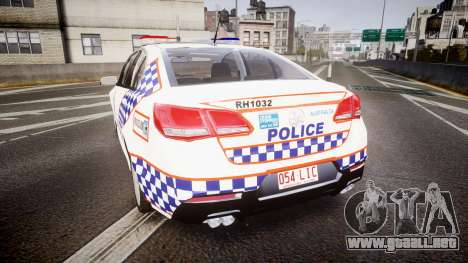 Holden VF Commodore SS Queensland Police [ELS] para GTA 4 Vista posterior izquierda