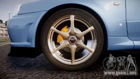 Nissan Skyline R34 GT-R V.specII 2002 para GTA 4 vista hacia atrás