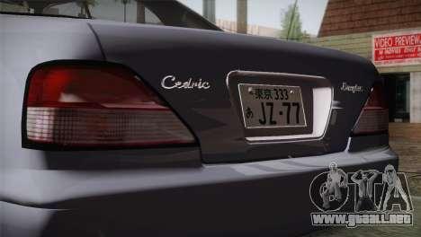 Nissan Cedric para GTA San Andreas vista hacia atrás