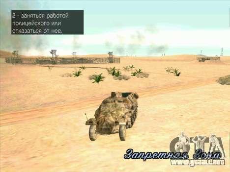 Sd Kfz 251 Camuflaje Desert para visión interna GTA San Andreas
