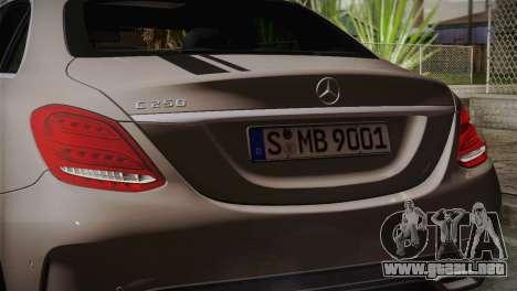 Mercedes-Benz C250 AMG Edition 2014 EU Plate para la visión correcta GTA San Andreas