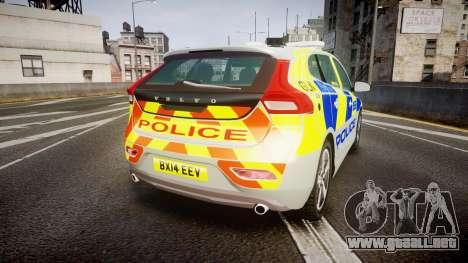 Volvo V40 Metropolitan Police [ELS] para GTA 4 Vista posterior izquierda