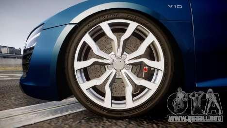 Audi R8 Spyder 2014 [EPM] para GTA 4 vista hacia atrás