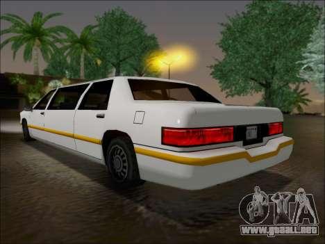 Elegant Limousine para GTA San Andreas vista posterior izquierda