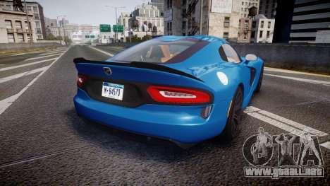 Dodge Viper SRT 2013 rims2 para GTA 4 Vista posterior izquierda