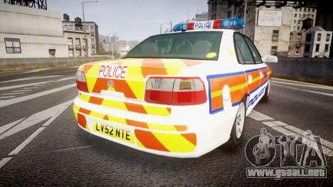 Vauxhall Omega Metropolitan Police [ELS] para GTA 4 Vista posterior izquierda