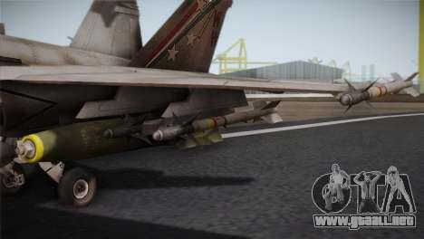 F-18 Hornet (Battlefield 2) para GTA San Andreas vista hacia atrás
