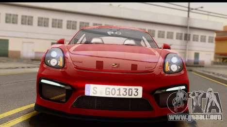 Porsche Cayman GT4 981c 2016 EU Plate para la visión correcta GTA San Andreas