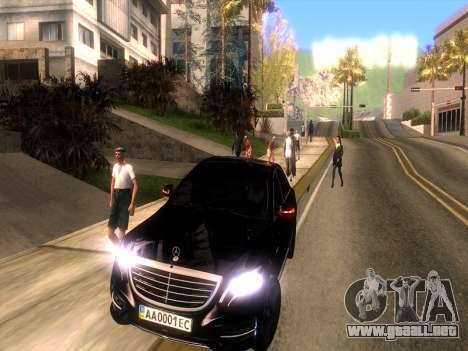 Mercedes-Benz Long S65 W222  Black loaf para GTA San Andreas vista hacia atrás