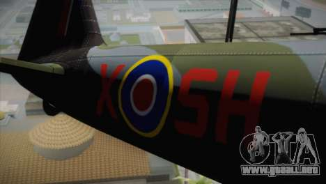 ИЛ-10 de la Royal Air Force para GTA San Andreas vista hacia atrás