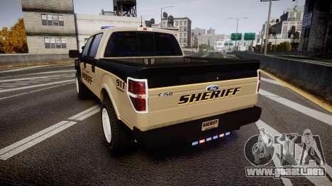 Ford F150 2010 Liberty County Sheriff [ELS] para GTA 4 Vista posterior izquierda