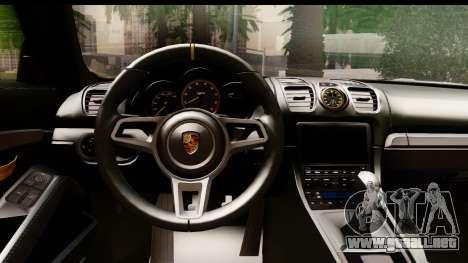 Porsche Cayman GT4 981c 2016 EU Plate para visión interna GTA San Andreas