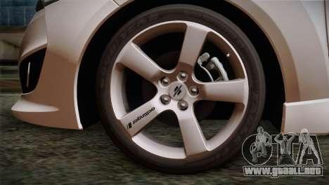 Hyundai Veloster 2012 Autovista para GTA San Andreas vista posterior izquierda
