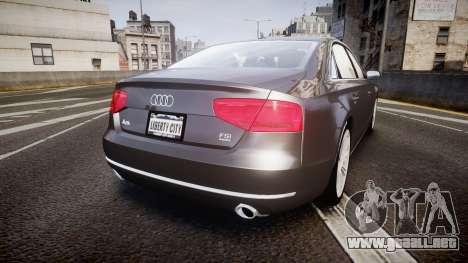 Audi A8 L 4.2 FSI quattro para GTA 4 Vista posterior izquierda