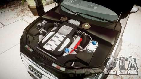Audi A8 L 4.2 FSI quattro para GTA 4 vista hacia atrás