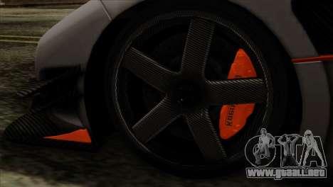 Koenigsegg One 1 para GTA San Andreas vista posterior izquierda