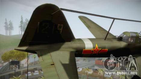 ИЛ-10 de la Fuerza Aérea China para GTA San Andreas vista posterior izquierda