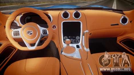 Dodge Viper SRT 2013 rims2 para GTA 4 vista hacia atrás