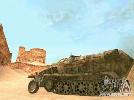 Sd Kfz 251 Camuflaje Desert para GTA San Andreas vista hacia atrás