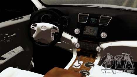 Lexus RX350 2009 para GTA San Andreas vista hacia atrás