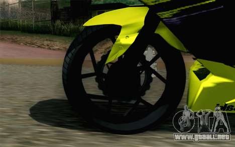 Kawasaki Ninja 250RR Mono Yellow para GTA San Andreas vista posterior izquierda