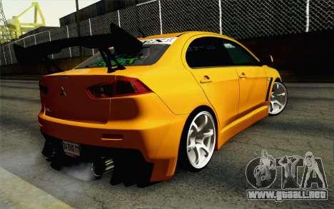 Mitsubishi Lancer Evolution X v2 para GTA San Andreas left