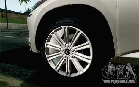 Lexus NX 200T v5 para GTA San Andreas vista posterior izquierda