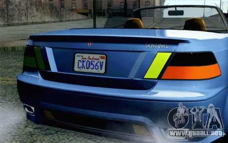 GTA 5 Ubermacht Sentinel Coupe SA Mobile para GTA San Andreas vista hacia atrás