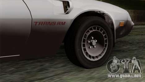 Pontiac Trans AM para GTA San Andreas vista posterior izquierda