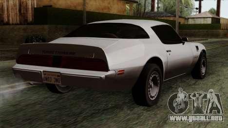 Pontiac Trans AM para GTA San Andreas left