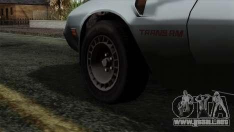 Pontiac Trans AM Interior para GTA San Andreas vista posterior izquierda