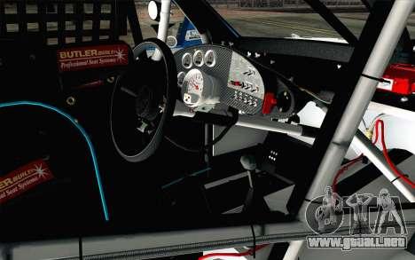 NASCAR Ford Fusion 2012 Plate Track para la visión correcta GTA San Andreas