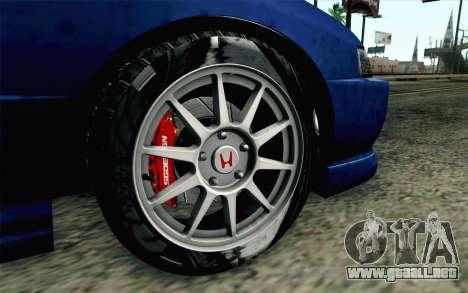 Honda Integra Type R 2000 Stock para GTA San Andreas vista posterior izquierda