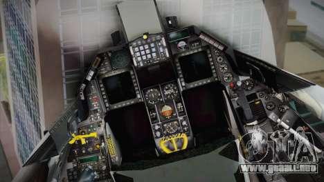 F-16 Fighting Falcon RNLAF para GTA San Andreas vista hacia atrás